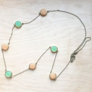 Druzy Statement Chain Necklace Peach & Mint